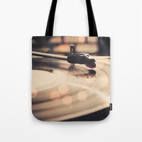 record Tote Bags featuring Record player by Basic Design