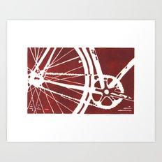 Dark Red Bike Art Print