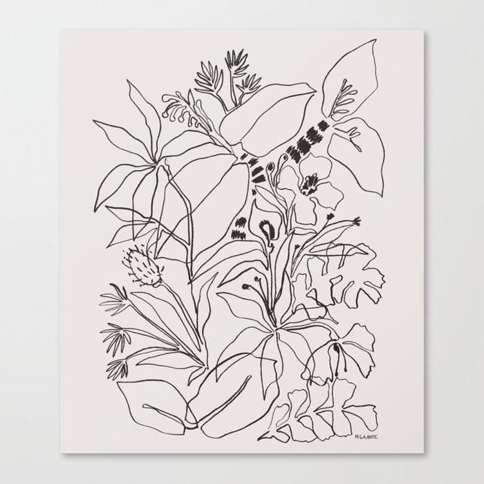 Charcoal Tropics Canvas Print