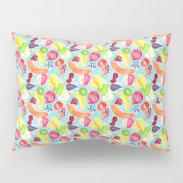 Fruit Salad in Watercolors on Bright Blue Background Pillow Sham