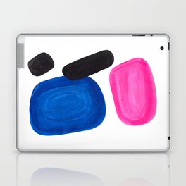 Colorful Minimalist Pop Art Mid Century Modern Style Rose Magenta Phthalo Blue Bubbles Laptop & iPad Skin