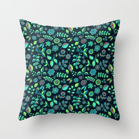 Neon Nature Doodles on Dark Denim Throw Pillow