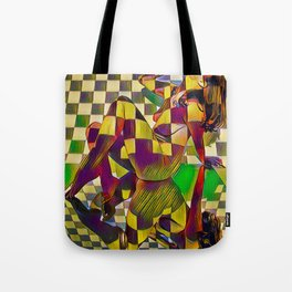 6097-KMA Checkerboard Nude Sitting on Mirror Tote Bag