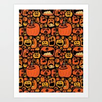pumpkin Art Prints featuring Pumpkin Pattern by Chris Piascik