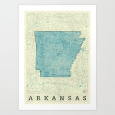 Arkansas State Map Blue Vintage Art Print