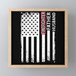 Firefighter Father Husband Usa Flag American Red Framed Mini Art Print