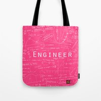 engineer Tote Bags featuring PINK - ENGINEER by Be Raza