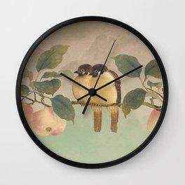 Golden Birds in Fruit Tree Wall Clock