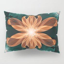 Alluring Turquoise and Orange Tiger Lily Flower Pillow Sham