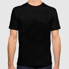 Organic Stripes #08: Black & White version Mens Fitted Tee LARGE Black