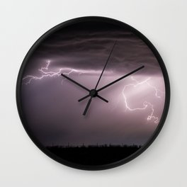 Summer Lightning Storm On The Prairie VI - Nature Landscape Wall Clock