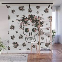 Flower Skull, Floral Skull, Pink Flowers on Human Skull Wall Mural