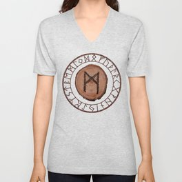Mannaz - Wooden Celtic Rune of self, individuals, universe, family, loved ones, friends, devoted Unisex V-Neck
