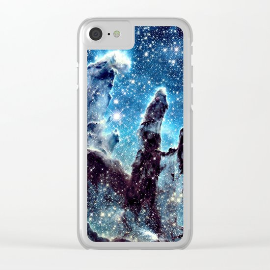 Pillars of Creation Nebula: Ocean Blue Galaxy Clear iPhone Case