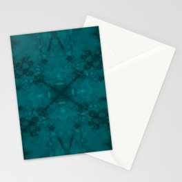 Green star kaleidoscope pattern Stationery Cards