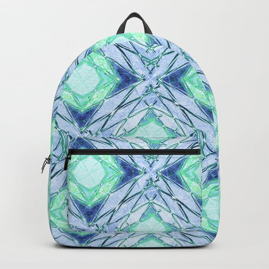 Abstract geometric pattern in blue, light blue,green, colours. Backpack