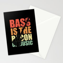 Bass Player BASS IS THE BACON OF MUSIC Bass Player Stationery Cards
