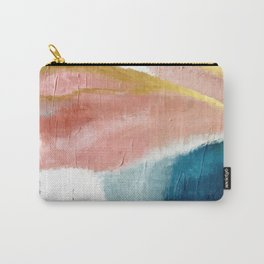Exhale: a pretty, minimal, acrylic piece in pinks, blues, and gold Carry-All Pouch