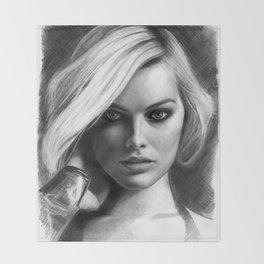Margot Robbie Pencil Sketch Throw Blanket