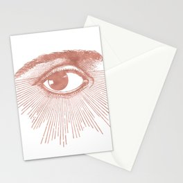 I see you. Rose Gold Pink Quartz on White Stationery Cards