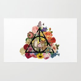 Floral Deathly Hallows Owl and Stag - Black Rug