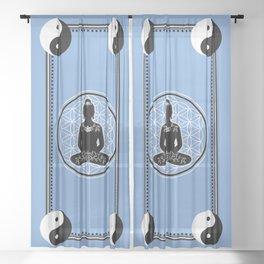 Buddha Yin Yang Flower Of Life Sheer Curtain
