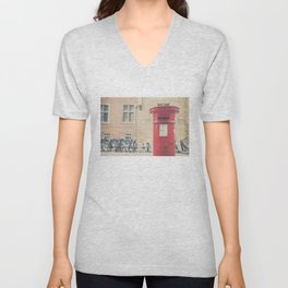 Red letter box in Cambridge, England print Unisex V-Neck
