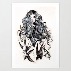 Woman & birds Art Print