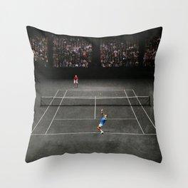 Nadal serving against Isner Throw Pillow