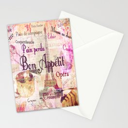 Bon Appetit French food words Stationery Cards
