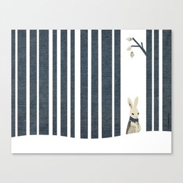 Winter Scene with Rabbit (Chasing the White Rabbit) Canvas Print
