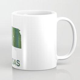 Kansas map outline Deep moss green watercolor Coffee Mug