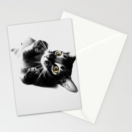 Cute Abyssinian cat  black and white Stationery Cards
