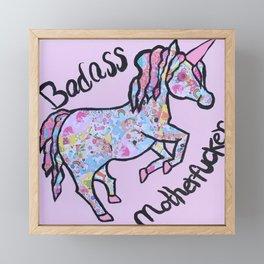 Badass Motherfucker Unicorn Framed Mini Art Print