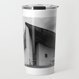 the iconic and dramatic chapel of Notre-Dame du Haut at Ronchamp by Architect Le Corbusier Travel Mug