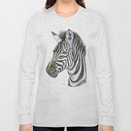 Zebra Watercolor Painting - African Animal Painting Wildlife Head Bust Long Sleeve T-shirt