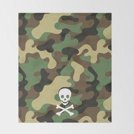 SKULL - CAMO & WHITE Throw Blanket
