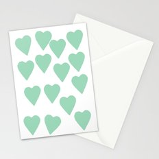 Hearts Mint Stationery Cards