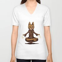 jedi V-neck T-shirts featuring Jedi cat by Toms Tomsons