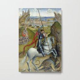 Saint George and the Dragon Oil Painting by Rogier van der Weyden Metal Print
