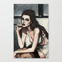 angelina jolie Canvas Prints featuring Angelina Jolie by vooce & kat