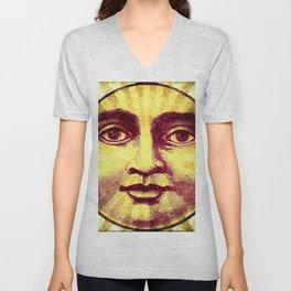 Vintage Sun Face Unisex V-Neck