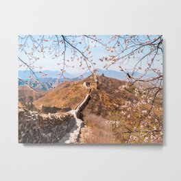 Great Wall of China framed with Cherry Blossom flowers Metal Print