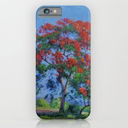 Royal Poinciana tree orange floral landscape painting by Domingo Ramos iPhone Case