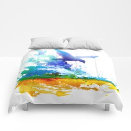 Birds flying. Sea, ocean waves. Gulls, colorful watercolor realistic panting. Blue water.. Comforters