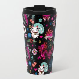 Lucky Cat Maneki Neko , Dragons and Koi fish Travel Mug