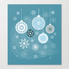 christmas balls with snowflakes on the blue Canvas Print