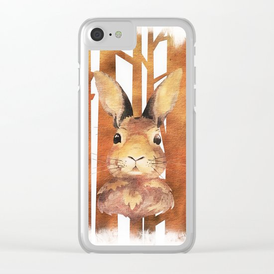 Fast Rabbit in the forest- abstract Hare watercolor Illustration Clear iPhone Case