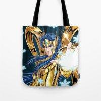 camus Tote Bags featuring Aquarius Camus-God Cloth by Studio Kawaii