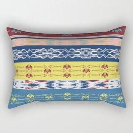 Oceanview Trim Red White Blue Ikat and Fish motif Rectangular Pillow